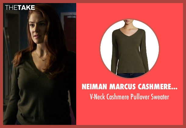 Neiman Marcus Cashmere Collection green sweater from Guilt seen with Natalie Atwood (Emily Tremaine)