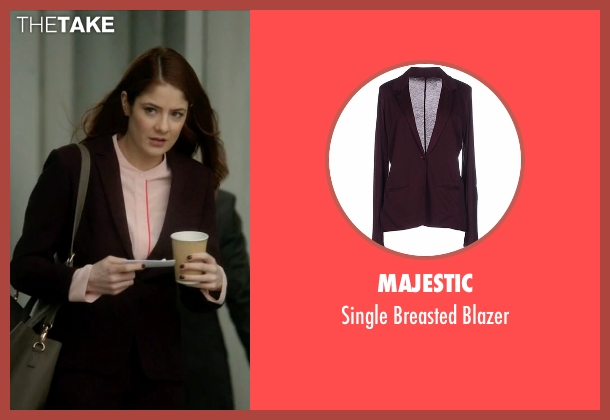 Majestic purple blazer from Guilt seen with Natalie Atwood (Emily Tremaine)