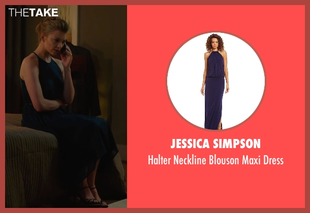 Jessica Simpson blue dress from The Forest seen with Natalie Dormer (Sara)