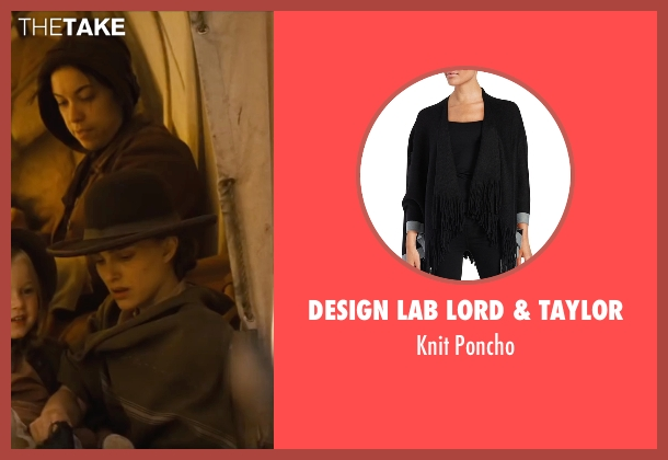 Design Lab Lord & Taylor black poncho from Jane Got A Gun seen with Natalie Portman (Jane Hammond)
