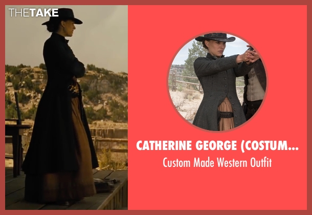 Catherine George (Costume Designer) gray outfit from Jane Got A Gun seen with Natalie Portman (Jane Hammond)