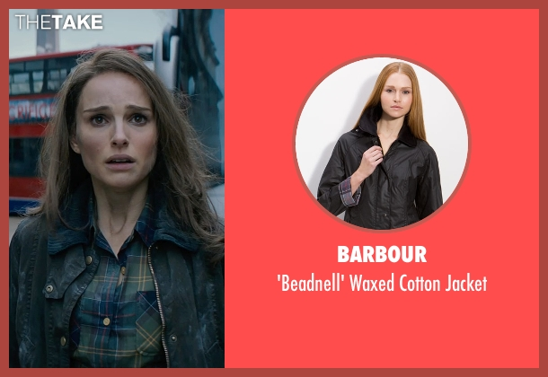 Barbour black jacket from Thor: The Dark World seen with Natalie Portman (Jane Foster)
