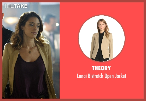 Theory brown jacket from Quantico seen with Natalie Vasquez (Anabelle Acosta)
