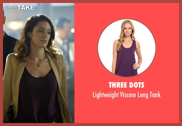 Three Dots purple tank from Quantico seen with Natalie Vasquez (Anabelle Acosta)