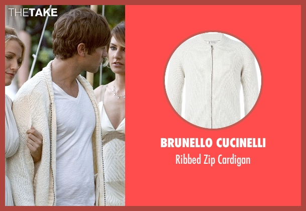 Brunello Cucinelli beige cardigan from Gossip Girl seen with Nate Archibald (Chace Crawford)