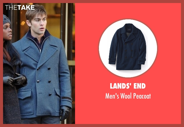 Lands' End blue peacoat from Gossip Girl seen with Nate Archibald (Chace Crawford)
