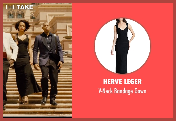Herve Leger black gown from Furious 7 seen with Nathalie Emmanuel (Ramsey)