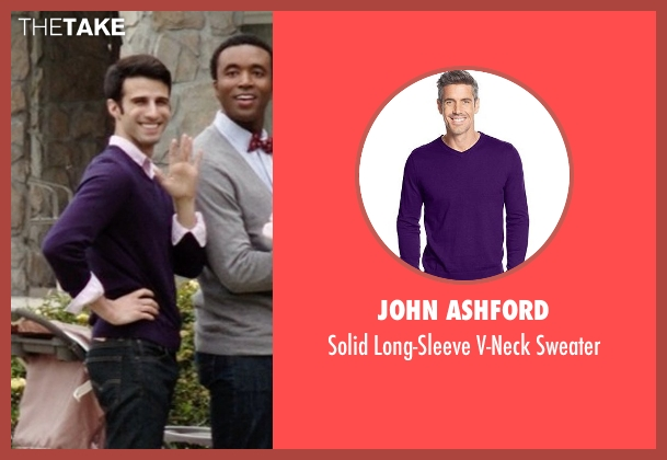 John Ashford purple sweater from Neighbors seen with Nathan Mohebbi (Neighbor)