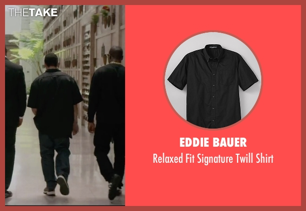 Eddie Bauer black shirt from Straight Outta Compton seen with Neil Brown Jr. (Dj Yella)