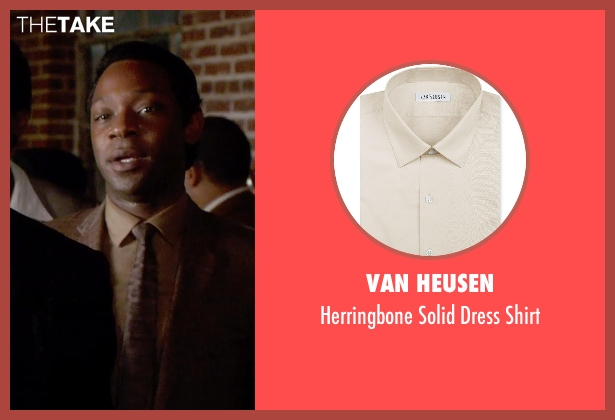 Van Heusen beige shirt from Get On Up seen with Nelsan Ellis (Bobby Byrd)