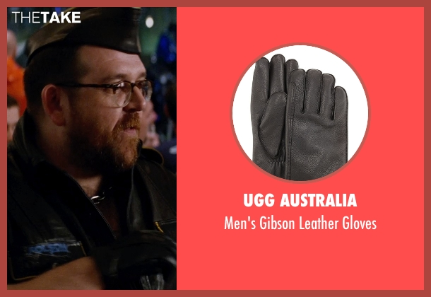 UGG Australia black gloves from Unfinished Business seen with Nick Frost  (Bill Whilmsley)