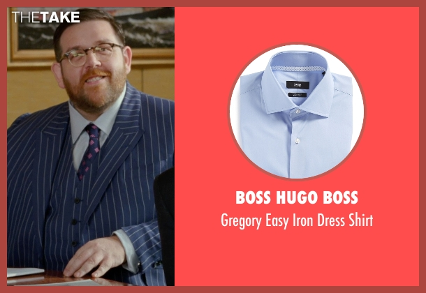 Boss Hugo Boss blue shirt from Unfinished Business seen with Nick Frost  (Bill Whilmsley)