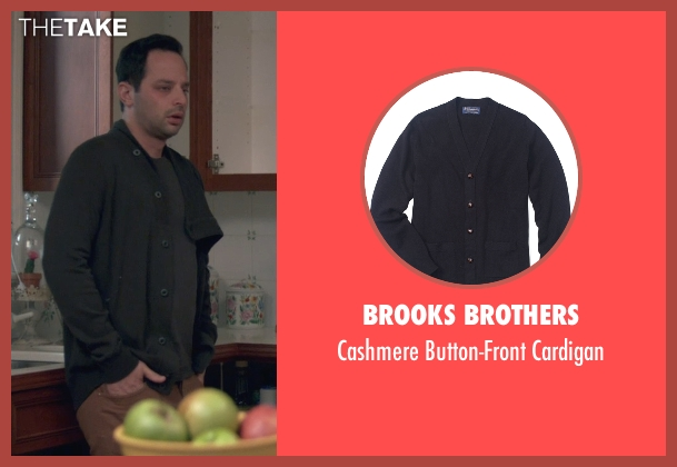 Brooks Brothers black cardigan from Adult Beginners seen with Nick Kroll (Jake)