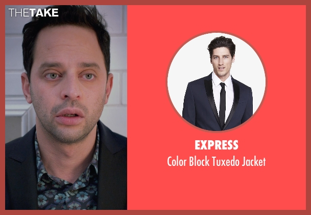 Express blue jacket from Adult Beginners seen with Nick Kroll (Jake)