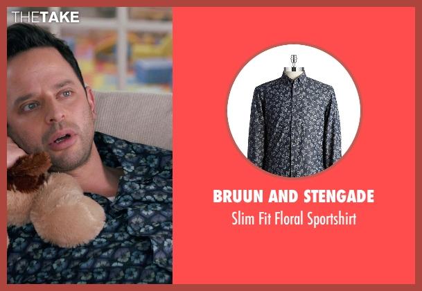 Bruun And Stengade blue sportshirt from Adult Beginners seen with Nick Kroll (Jake)