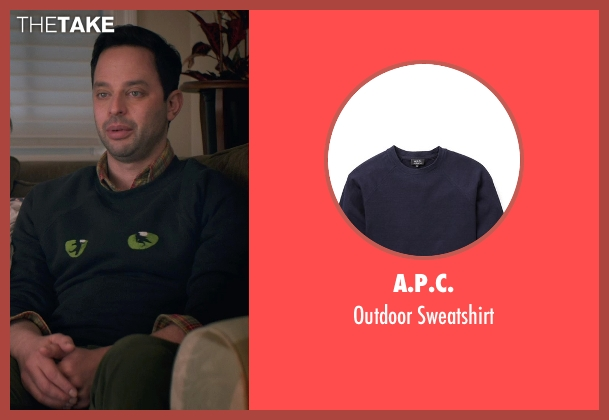 A.P.C. blue sweatshirt from Adult Beginners seen with Nick Kroll (Jake)