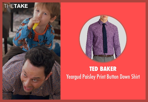 Ted Baker purple shirt from Adult Beginners seen with Nick Kroll (Jake)