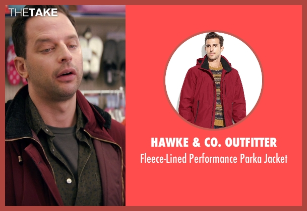Hawke & Co. Outfitter red jacket from Adult Beginners seen with Nick Kroll (Jake)