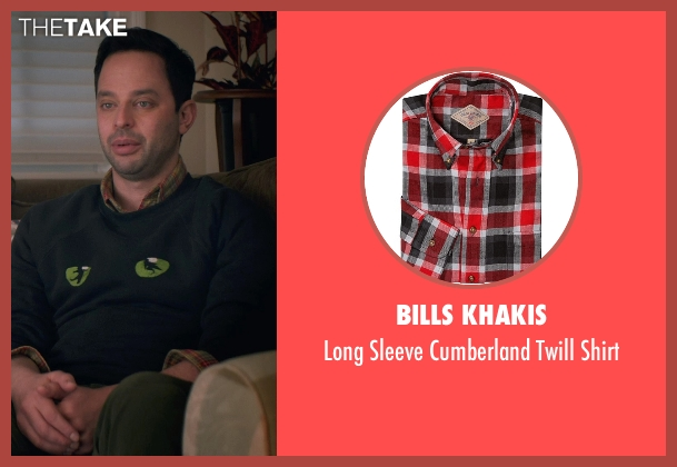 Bills Khakis red shirt from Adult Beginners seen with Nick Kroll (Jake)