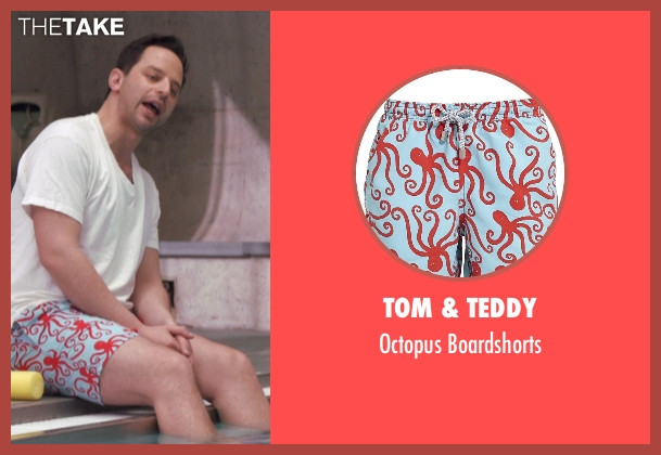 Tom & Teddy white boardshorts from Adult Beginners seen with Nick Kroll (Jake)