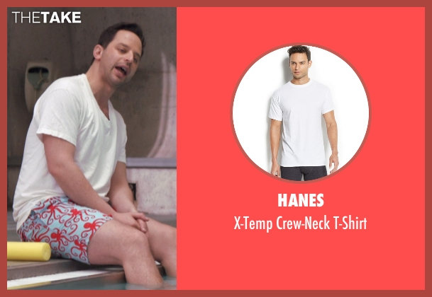 Hanes white t-shirt from Adult Beginners seen with Nick Kroll (Jake)