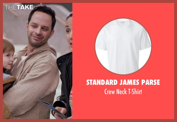 Standard James Parse white t-shirt from Adult Beginners seen with Nick Kroll (Jake)