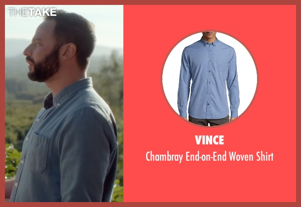 Vince blue shirt from Joshy seen with Nick Kroll (Eric)