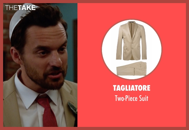 Tagliatore beige suit from New Girl seen with Nick Miller (Jake Johnson)