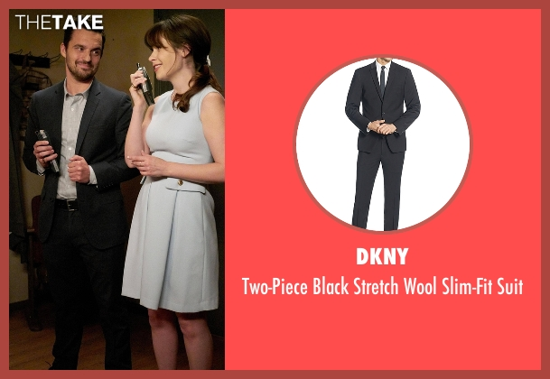 DKNY  black suit from New Girl seen with Nick Miller (Jake Johnson)