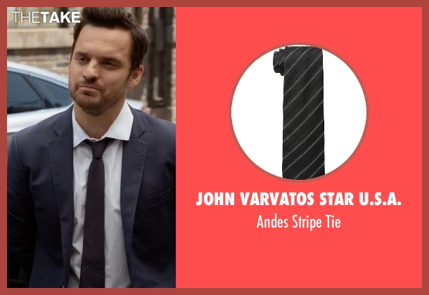 John Varvatos Star U.S.A. black tie from New Girl seen with Nick Miller (Jake Johnson)