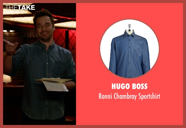 Hugo Boss blue sportshirt from New Girl seen with Nick Miller (Jake Johnson)