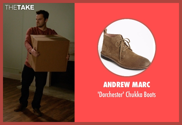 Andrew Marc brown boots from New Girl seen with Nick Miller (Jake Johnson)