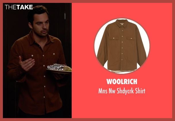 Woolrich brown shirt from New Girl seen with Nick Miller (Jake Johnson)
