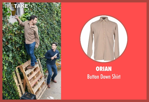 Orian brown shirt from New Girl seen with Nick Miller (Jake Johnson)