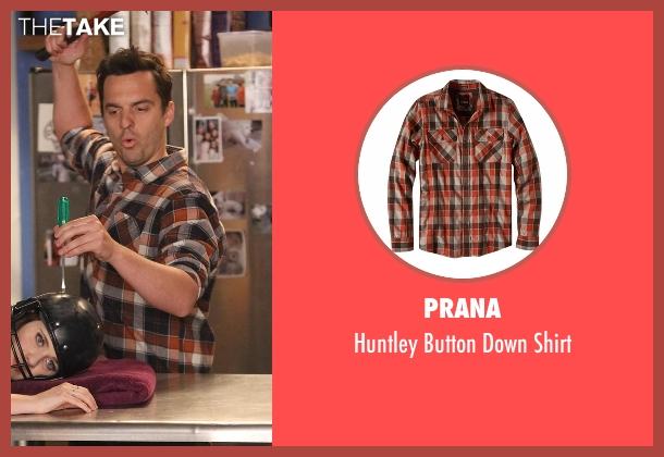 Prana brown shirt from New Girl seen with Nick Miller (Jake Johnson)