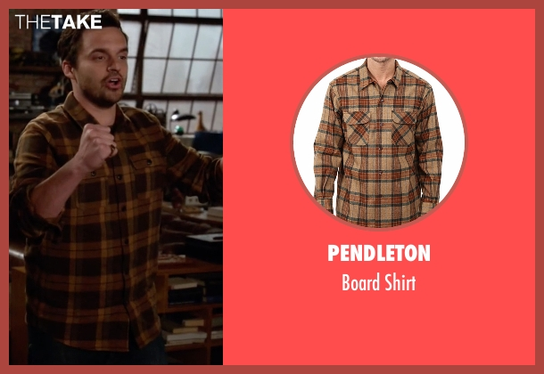 Pendleton brown shirt from New Girl seen with Nick Miller (Jake Johnson)