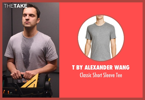 T by Alexander Wang gray tee from New Girl seen with Nick Miller (Jake Johnson)