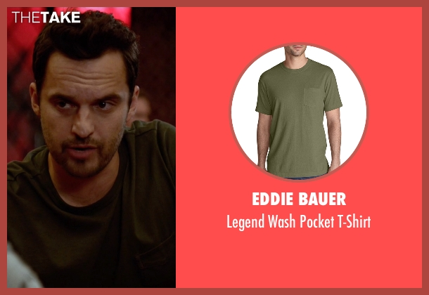 Eddie Bauer green t-shirt from New Girl seen with Nick Miller (Jake Johnson)