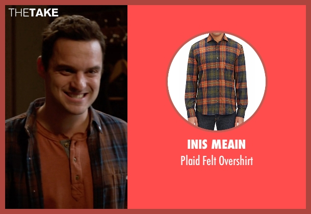 Inis Meain orange overshirt from New Girl seen with Nick Miller (Jake Johnson)