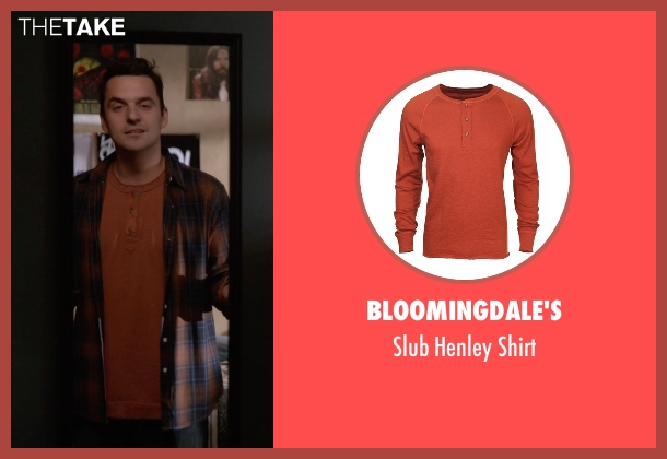 Bloomingdale's orange shirt from New Girl seen with Nick Miller (Jake Johnson)