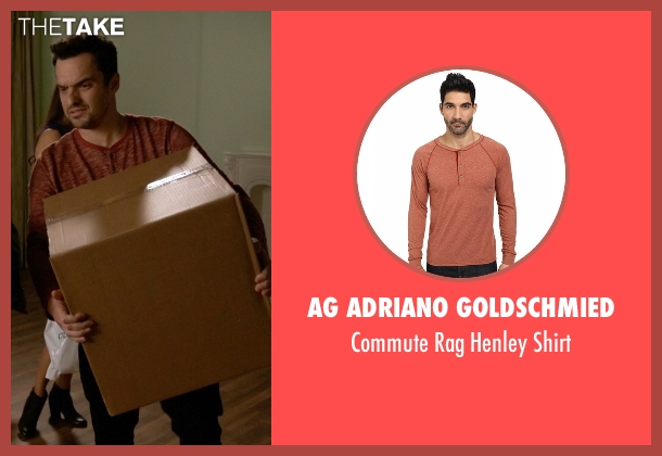 AG Adriano Goldschmied orange shirt from New Girl seen with Nick Miller (Jake Johnson)