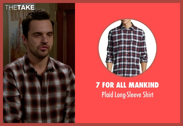 7 For All Mankind red shirt from New Girl seen with Nick Miller (Jake Johnson)