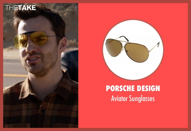 Porsche Design yellow sunglasses from New Girl seen with Nick Miller (Jake Johnson)