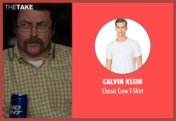 Calvin Klein white t-shirt from We're the Millers seen with Nick Offerman (Don Fitzgerald)