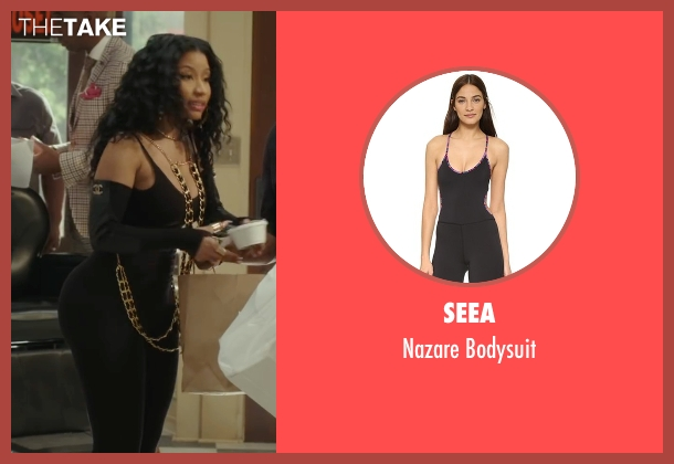 Seea black bodysuit from Barbershop: The Next Cut seen with Nicki Minaj (Draya)
