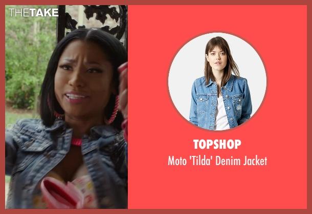 Topshop blue jacket from Barbershop: The Next Cut seen with Nicki Minaj (Draya)