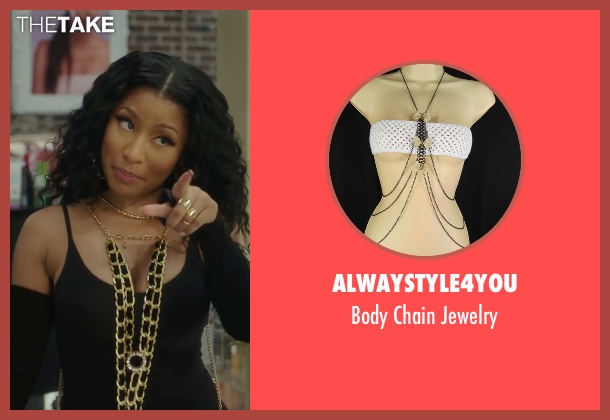 Alwaystyle4you gold jewelry from Barbershop: The Next Cut seen with Nicki Minaj (Draya)