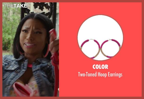 Color pink earrings from Barbershop: The Next Cut seen with Nicki Minaj (Draya)