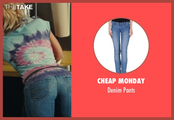 Cheap Monday blue pants from Hall Pass seen with Nicky Whelan (Leigh)