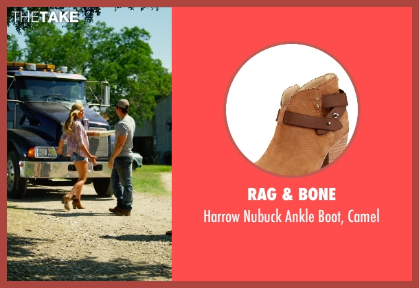 Rag & Bone brown camel from Transformers: Age of Extinction seen with Nicola Peltz (Tessa Yeager)